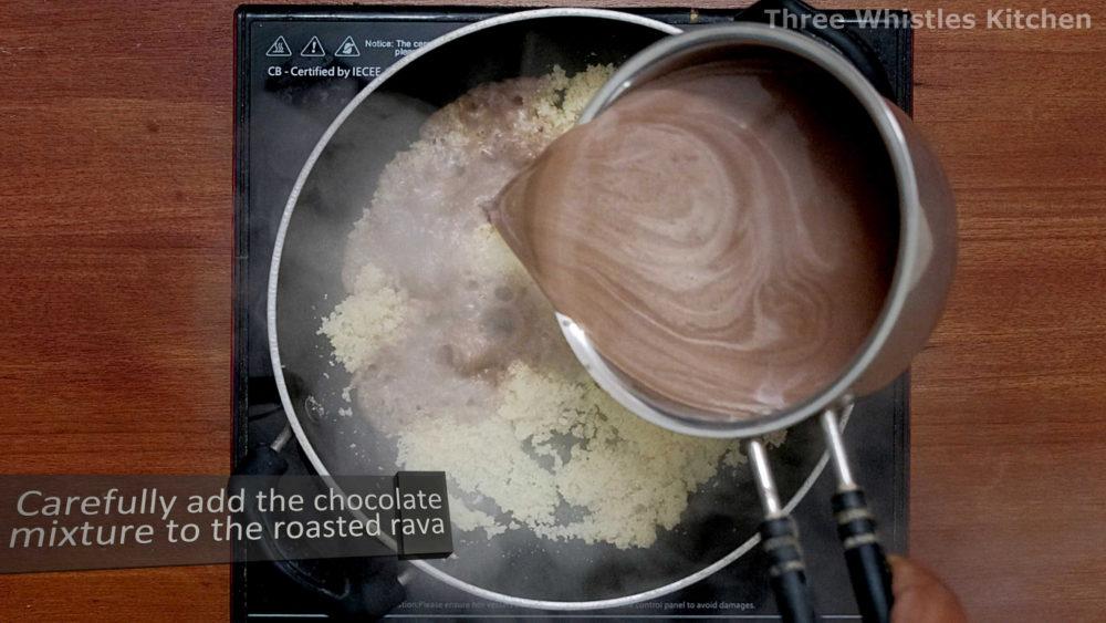 kesari pouring chocolate