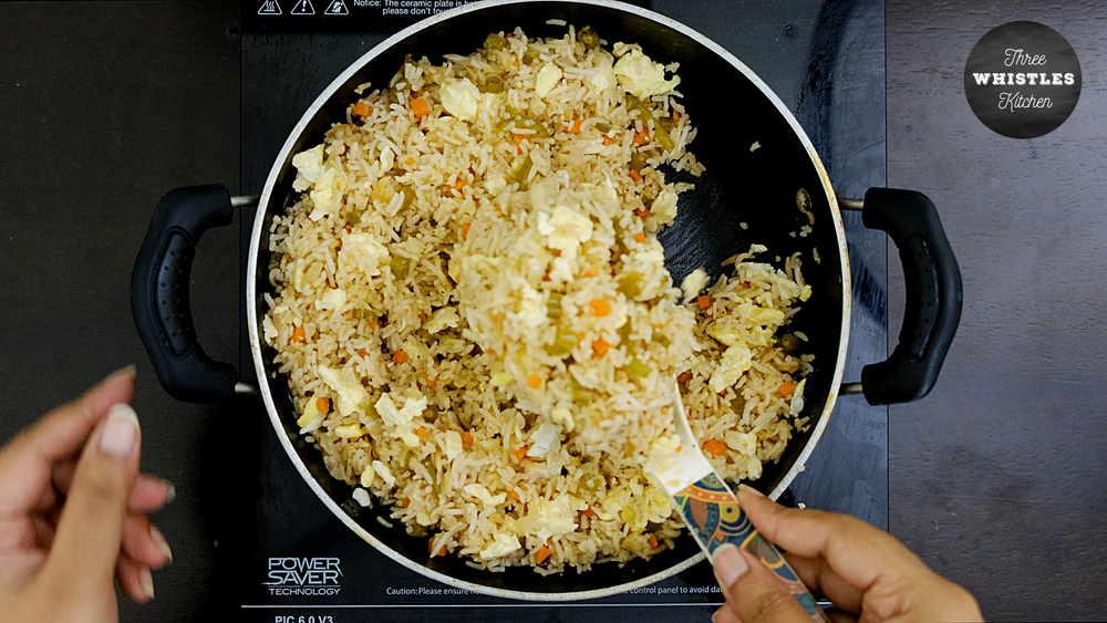 indian egg fried rice serve