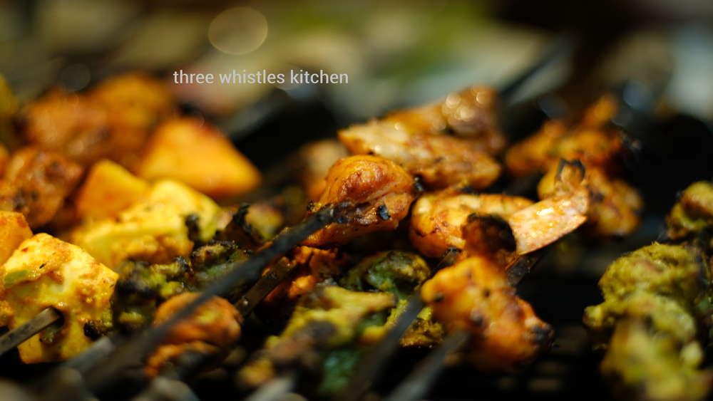 grilled prawns and chicken
