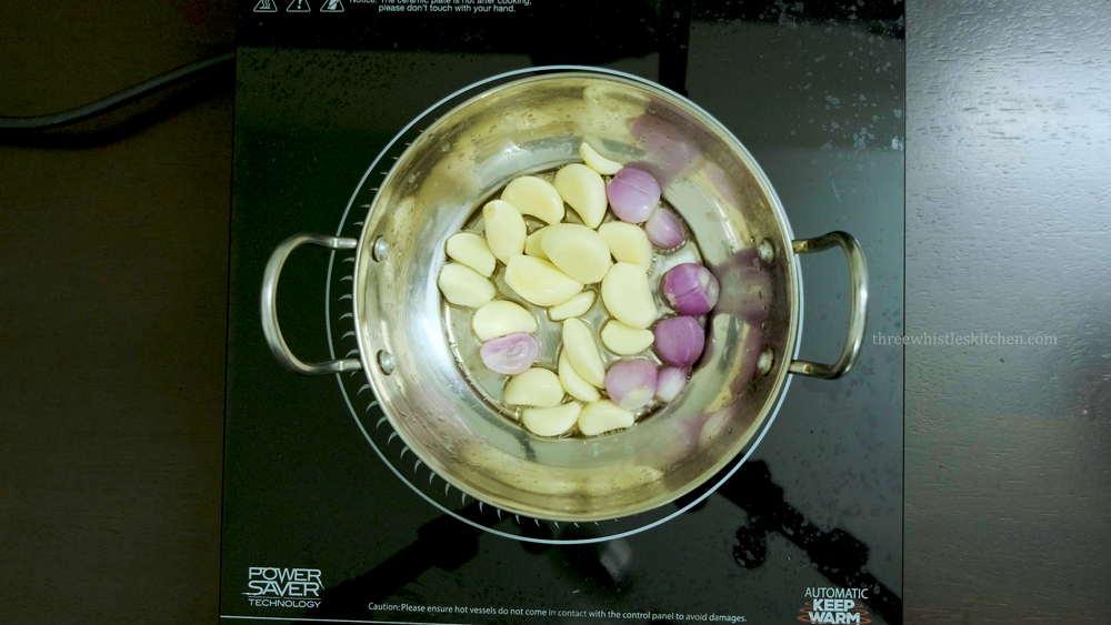 poondu chutney saute garlic and shallots